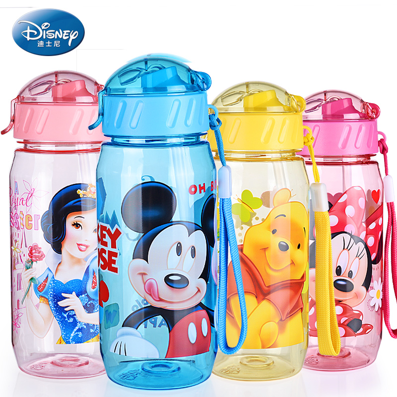 400ml Disney Carton Water Bottle Mickey Bottle PP Rope Water Holder Portable Kids Bottle Mama Bottle Straw Baby Tumbler Mickey