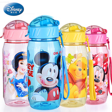 400ml Disney Carton Water Bottle Mickey Bottle PP Rope Water Holder Portable Kids Bottle Mama Bottle Straw Baby Tumbler Mickey