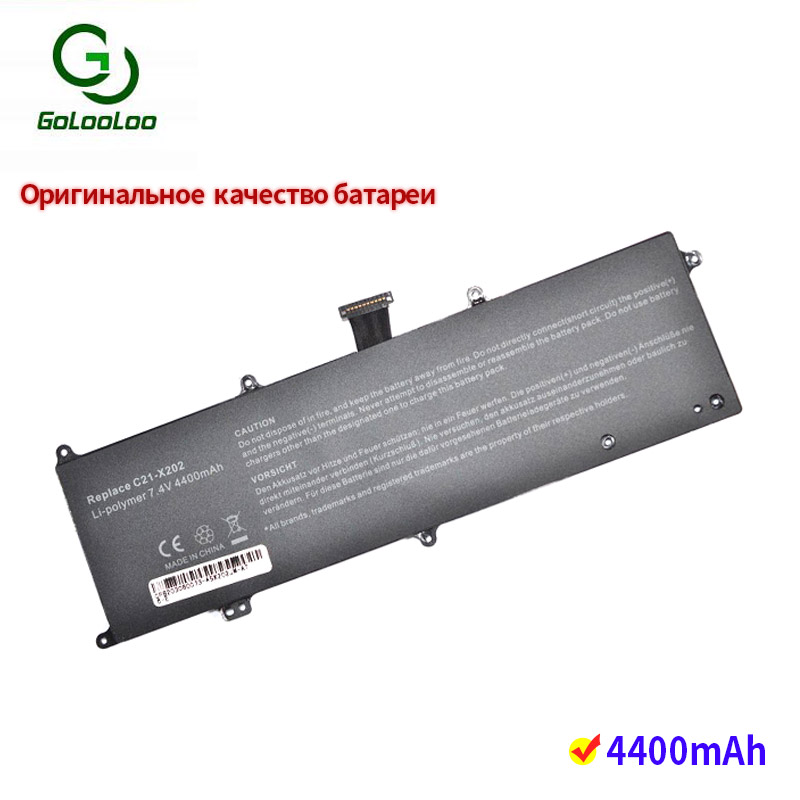 Golooloo <font><b>7.4v</b></font> <font><b>4400mAh</b></font> laptop <font><b>battery</b></font> for Asus S200 S200E S200E-CT209H CT243H CT198H X202 X202E X201 X201E C21-X202 C21X202 image