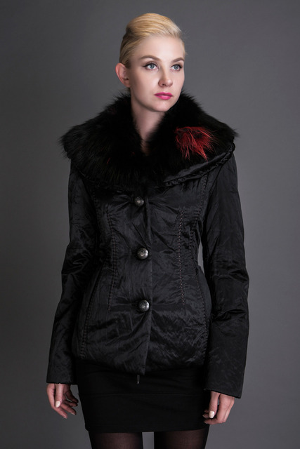 BASIC EDITIONS 2016 Winter Black Slim Coat Metallic Silk Fabric Raccoon Fur Collar Hooded Jacket 1821
