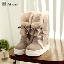 furry snow boots women's winter ankle flat boots for women faux fur  suede shoes women