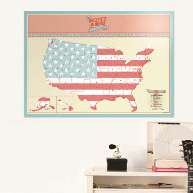 USA Scratch Map Of American Country Map Packed in Card Tube Scratch ...