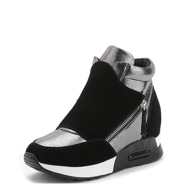 2017 Новая Зимняя Плюс Бархат Теплой Женщин Клин Ботинки Открытый Водонепроницаемый Высота Увеличение Обувь Женщина Черный