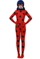 Miraculous Ladybug Girl Cosplay Costume Kids Second Skin Tight Suit Spandex Turtleneck Unitard Women Halloween Party