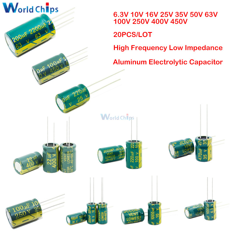 20PCS 6.3V 10V 16V 25V 35V 50V 63V 100V 250V 400V 450V 47UF 100UF 220UF 330UF 470UF 680UF 1000UF Aluminum Electrolytic Capacitor image