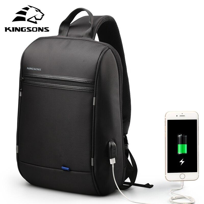 Image 5 - Kingsons alta qualidade portátil mochila de negócios da moda das mulheres dos homens casual viagem mochila bolsa de ombro com carga usb externoMochilas   -