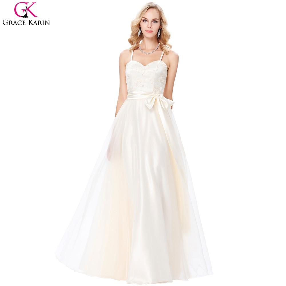 Grace Karin Evening Dress Champagne Voile Satin Appliques Elegant ...