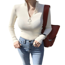 Shintimes Christmas Sweaters Women 2018 Korean Sueter Mujer Turtleneck Zipper Sweater Pullover Womens Knitted Winter Clothes