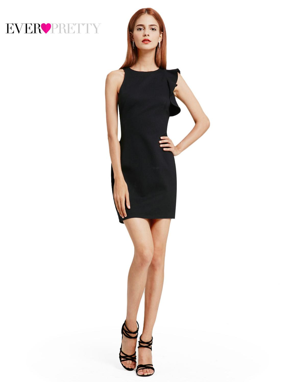 Ever Pretty, новинка, модное женское коктейльное платье, 5903, сексуальное, растягивающееся, рукав, оборки, черное, мини, короткое, вечернее платье, халат soiree - Цвет: Black
