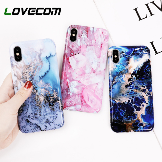 LOVECOM Case For iPhone 6 6S 7 8 Plus Marble Texture Pattern Glossy IMD Soft  Protective 7e70f79f323b
