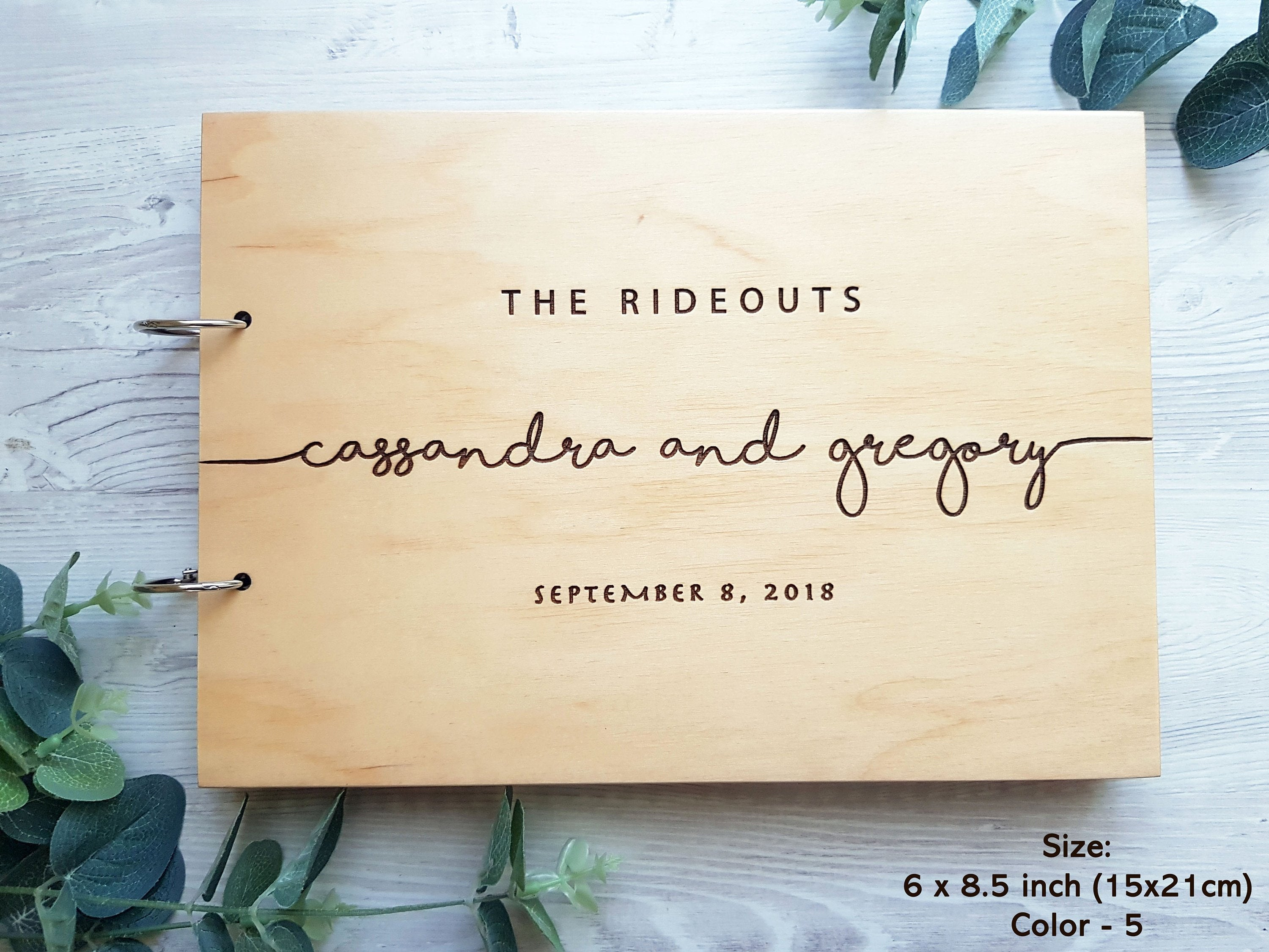 Wooden Wedding Guest Book, Laser Engrave Horizontal Wedding Book With Calligraphy Names, Hardcover Instant Photo Booth Album