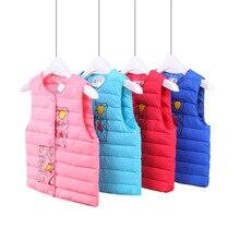 children girl down vest baby clothes cartoon printing down waistcoats kids wear boys winter autumn outwear
