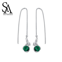 цена SA SILVERAGE Night Elf S925 Vine Pure Tremella Wire Feminine Tassel Long Earrings 925 Sterling Silver Drop Earring Women Jewelry онлайн в 2017 году