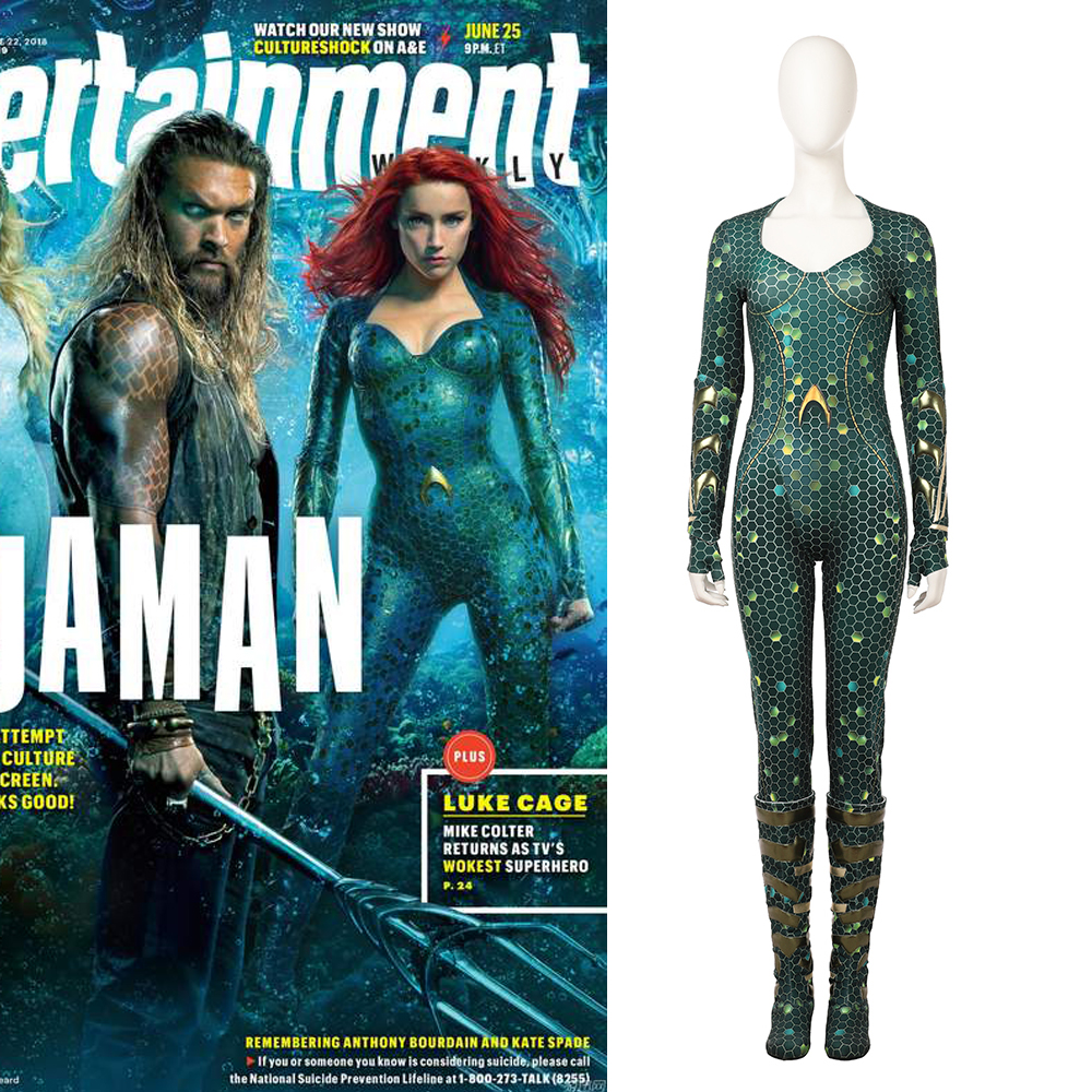 Movie Aquaman Mera Cosplay Costume Bright Green Pearly Skin Jumpsuite Female Cosplay Costume Custom Made For Halloween