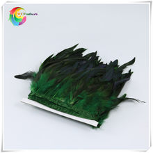 wholesale 2 yard long dyed dark green high quality natural rooster feather trims trimming with Satin Ribbon Tape for women skirt(China)