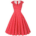 Polka Dot Summer Women Dresses Grace Karin V neck Knee Length Lady Sleeveless Print Midi Long Rockabilly Dress Plus Size 2016