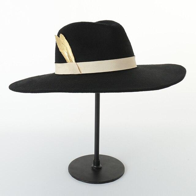 997cc8e3cd9351 Autumn Winter New Hats For Women Soft Wide Brim Wool Felt Bowler Fedora Hat  Floppy Cloche