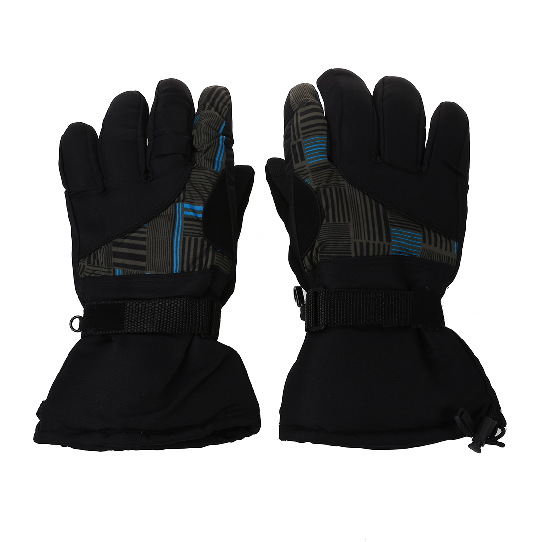 Winter Man Outdoor Sports Waterproof Thickening Climbing Skiing Gloves (Blue and black)
