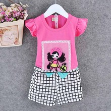 Summer time type child ladies garments set short-sleeved swimsuit 2017 child ladies youngster informal sport tops+brief stripe pants clothes set
