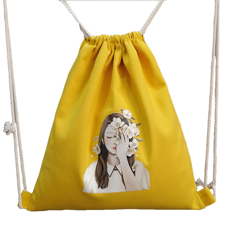 10PCS LOT Women Drawstring Cotton Bags Portable Multifunctional Pouch Cute Girl Printing Bags Travel Backbag Wholesale
