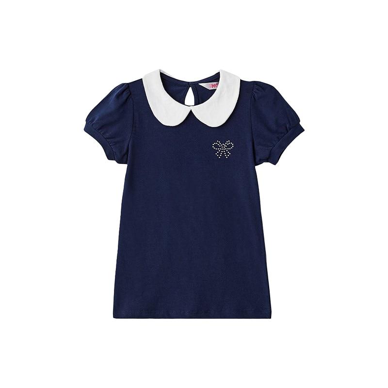 Blouses & Shirts MODIS M182K00025 for girls kids clothes children clothes TmallFS plus collar knot blouses