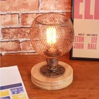 Modern Desk Lamp Simple Bedroom Desk Light Real Wood Study Lamp Iron Art Living Room Light Vintage Style Small Table Lamps