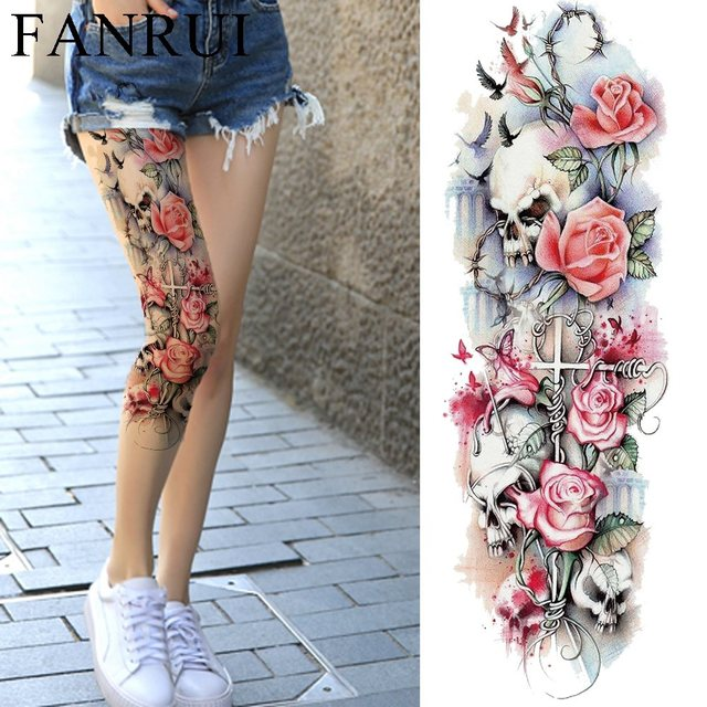 349c023a7 Sexy Summer Women Flower Temporary Tattoo Full Legs Body Art Tattoo  Stickers Girl Shoulder Party Waterproof Tatto Big Arm Sleeve
