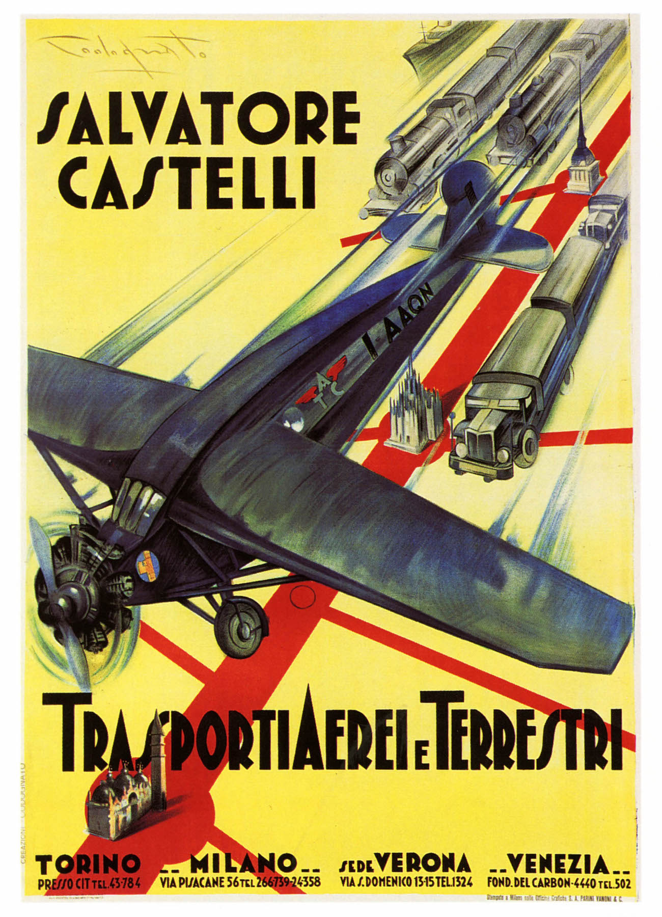 Vintage Advertising Aviation Poster Salvatore Castelli Classic ...