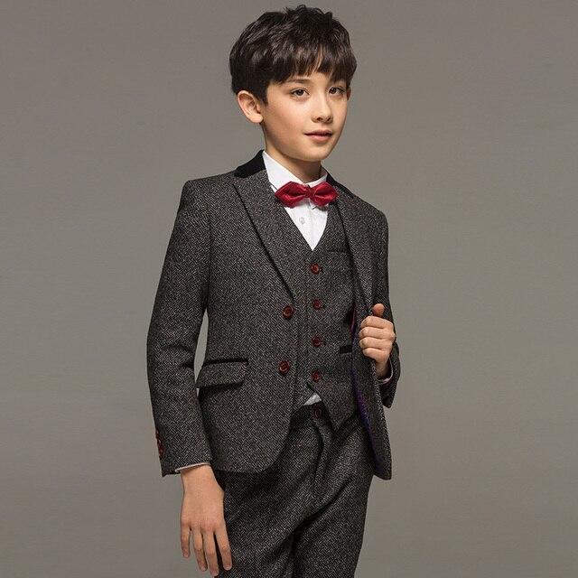 5a13d8b48a7e0 Marka chłopiec ubrania 30% Wełna Anglia Retro dziecko kid baby boy formalne  garnitury ślubne Szary