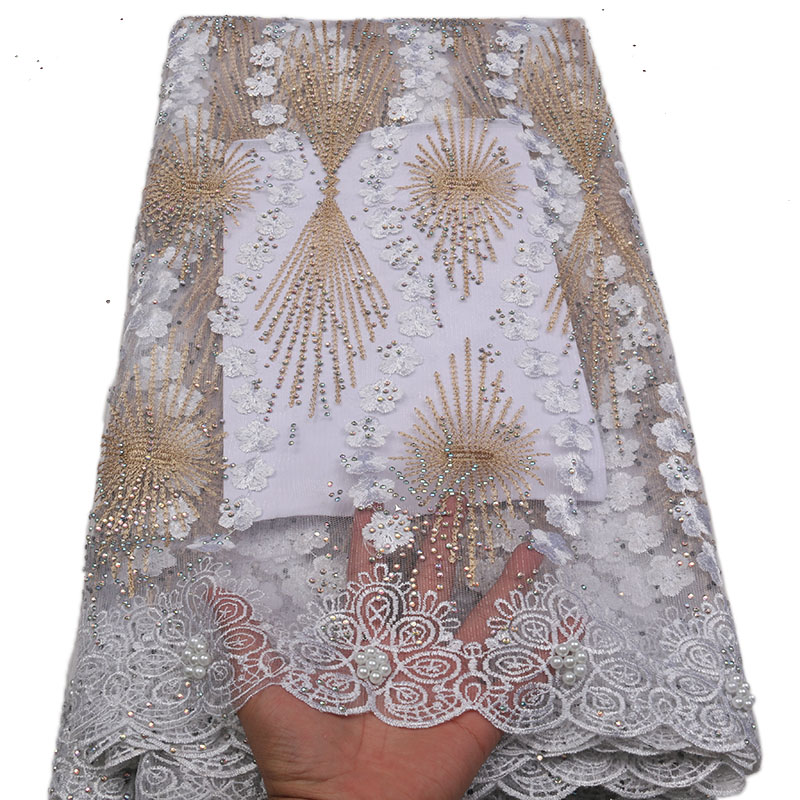Latest High Quality African Tulle Lace Fabric 2018 Gold African Material White Embroidered lace Trimmings For