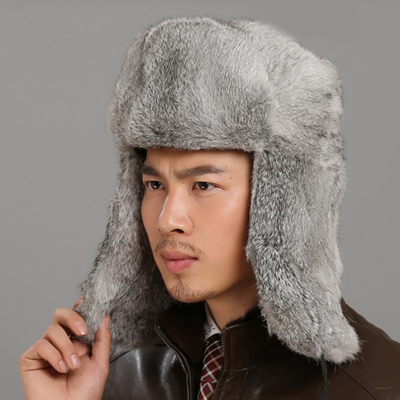 New Russian Trapper Hat For Men Genuine Fur Thicken Male Winter Real Rabbit Fur Hats Winter Outdoor Leather Bomber Hats Men(China)