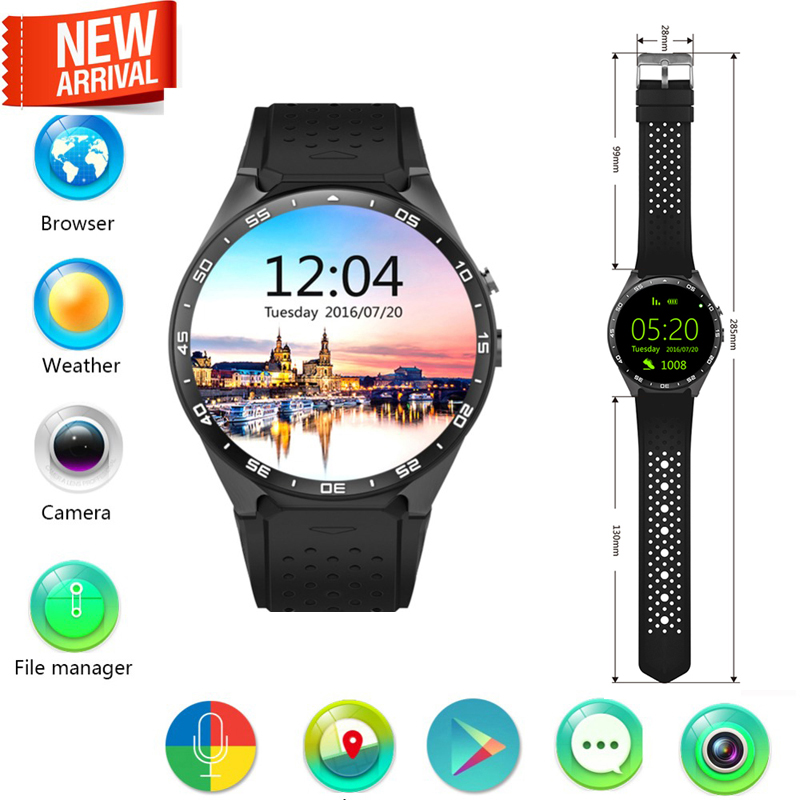KW88 3G WIFI GPS smart watch Android 5.1 OS MTK6580 CPU 1.39 inch Screen 2.0MP camera smartwatch for apple moto huawei