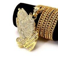 NYUK Crystal Bidden Hand Hanger Verklaring Ketting Gold Iced Out Gebed Jezus Hip Hop Bling Strass Lange Keten Vrouwen Mannen