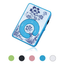 AIKEGLOBAL Hifi Mini Clip Flower Pattern MP3 Player Music Media Support Micro SD TF Card with Charging Cable Drop Shipping