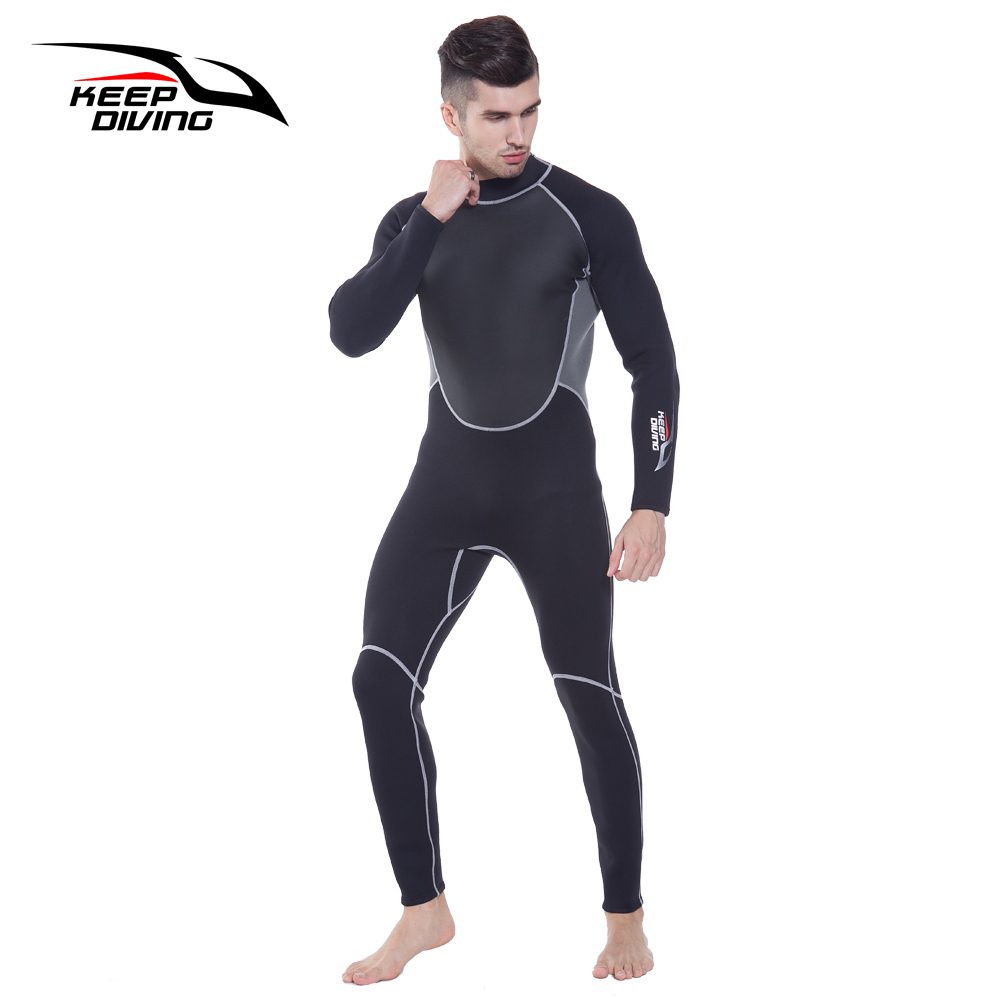 0204265383 Genuine 3MM Neoprene Wetsuit One-Piece and Close Body Diving Suit for Men  Scuba Dive Surfing Snorkeling Spearfishing Plus Size