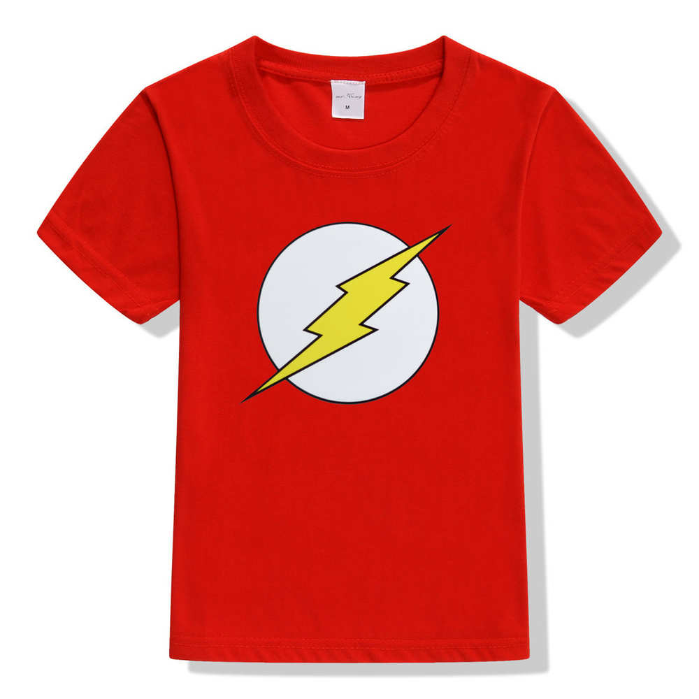 the flash kids t shirts children boys girls flash man logo t-shirt cartoon character tops for boy summer clothing toddler tshirt