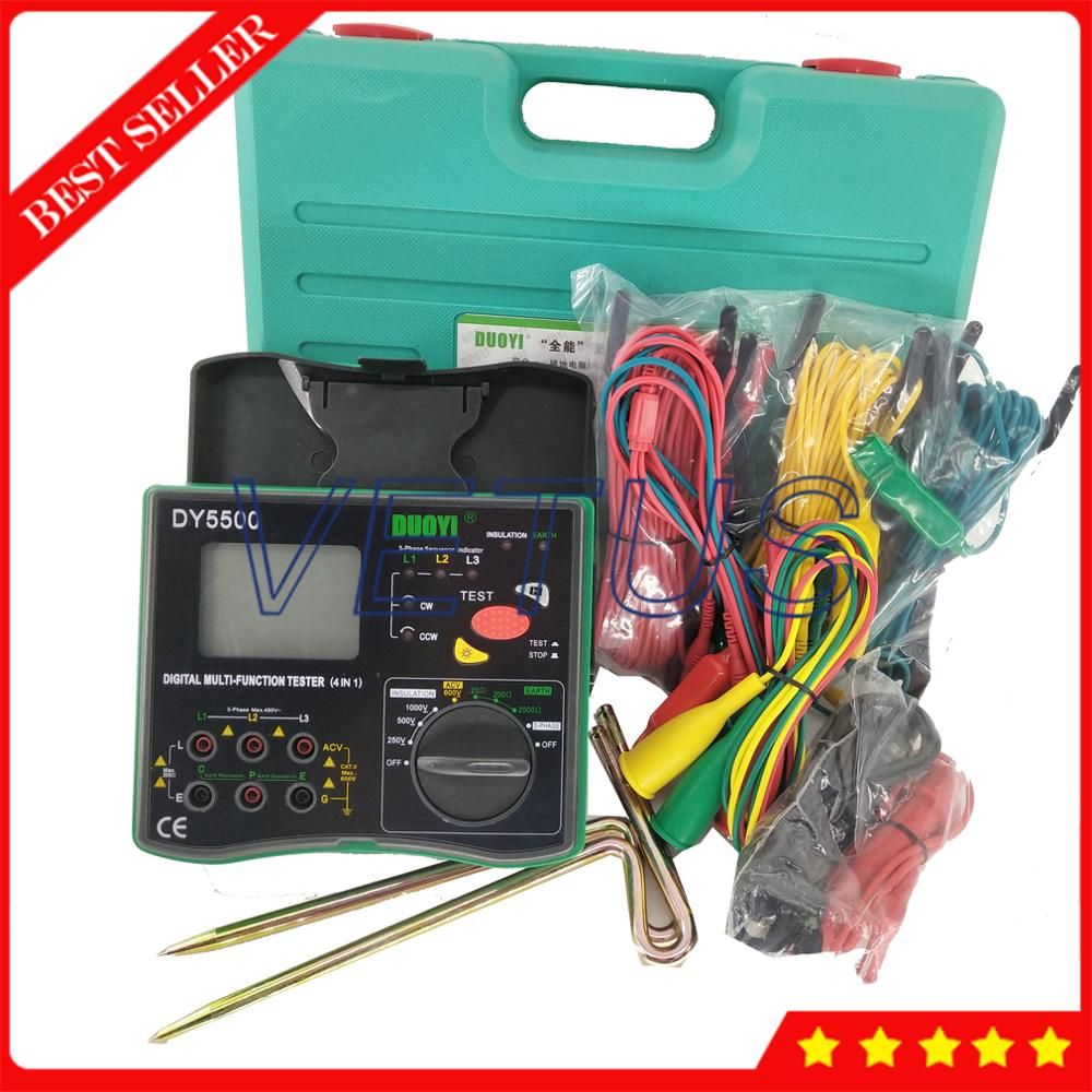 DY5500 Multifunction 2000Mohm Earth Resistance Tester with 4 in 1 Digital ground Aislamiento Megger Measurement-in Resistance Meters from Tools    1
