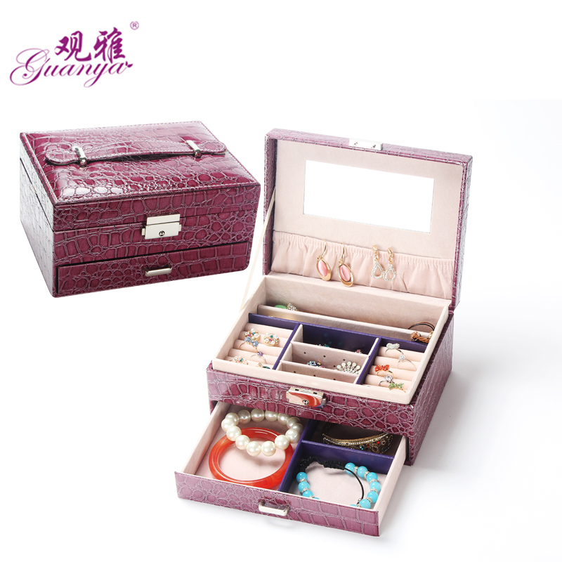 High Quality Flannel Inside Korean Covered With Leather Jewelry box Storage Box Candy-colored Multifunction Jewel Case for Gift jewel box