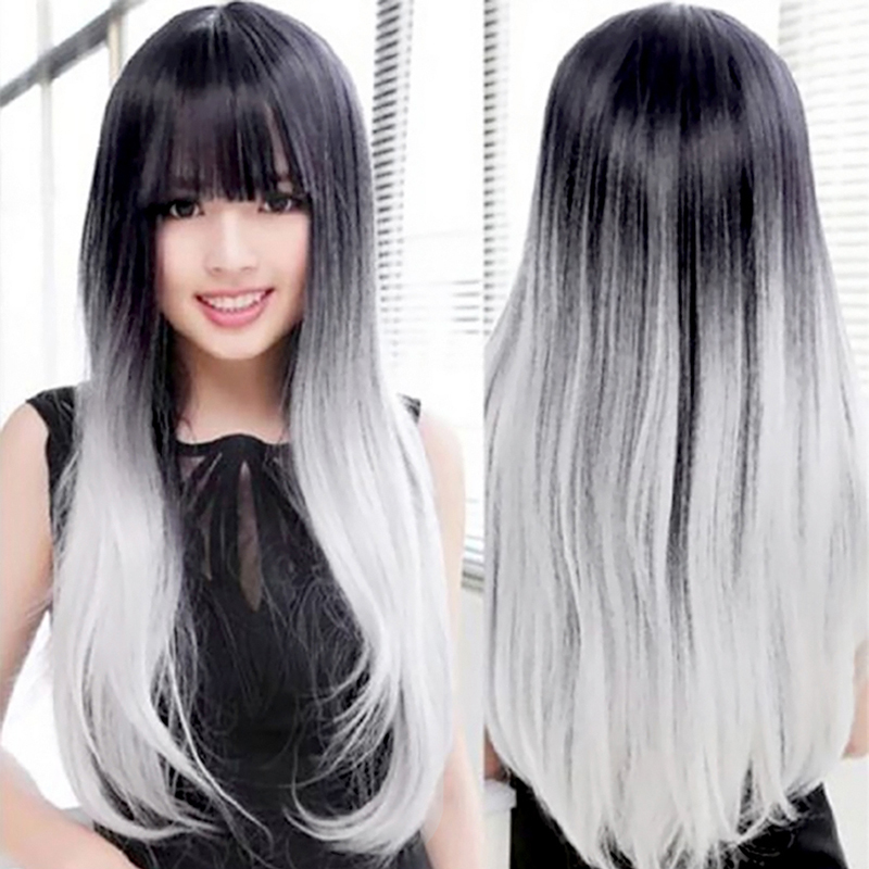 Women Unique Long Wig Straight Hair Black And Gray Gradient Synthetic Nylon Hair Wigs L04713