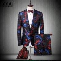 2018 Новый Slim Fit Блейзер Для мужчин из двух частей люкс с длинным рукавом Однобортный Свадебные пиджак костюм куртка брюки мужской плюс размер