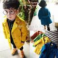 Высокое качество Новых Мальчиков Зимнее Пальто Мода Двойной Брестед Твердые Темно-Синий желтый Дети Шерсти Пальто Куртки для Мальчиков Детей Верхняя Одежда