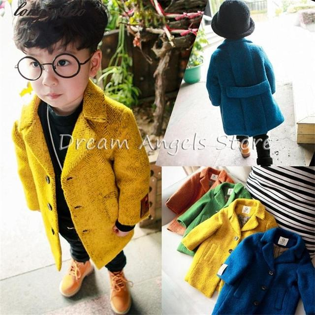 High quality New Boys Winter Coat Fashion Double Breasted Solid Navy Blue yellow Kids Wool Coats Jacket Boys Children Outerwear