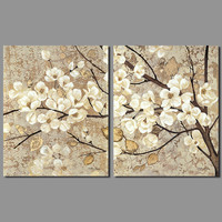 Retro Chinese Japan Style Decoration White Flowers Wall Art Picture Yellow Old Leaf Trees Canvas Painting