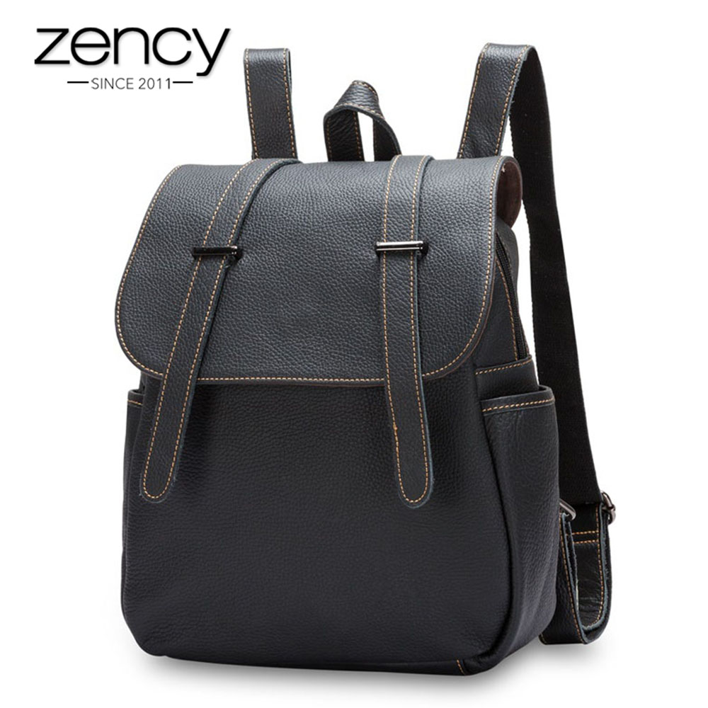 Zency Cowhide Genuine Leather Vintage Female Backpack Schoolbags For Teenager Girls Designer Laptop Travel Bag mochila feminina zency genuine leather backpacks female girls women backpack top layer cowhide school bag gray black pink purple black color