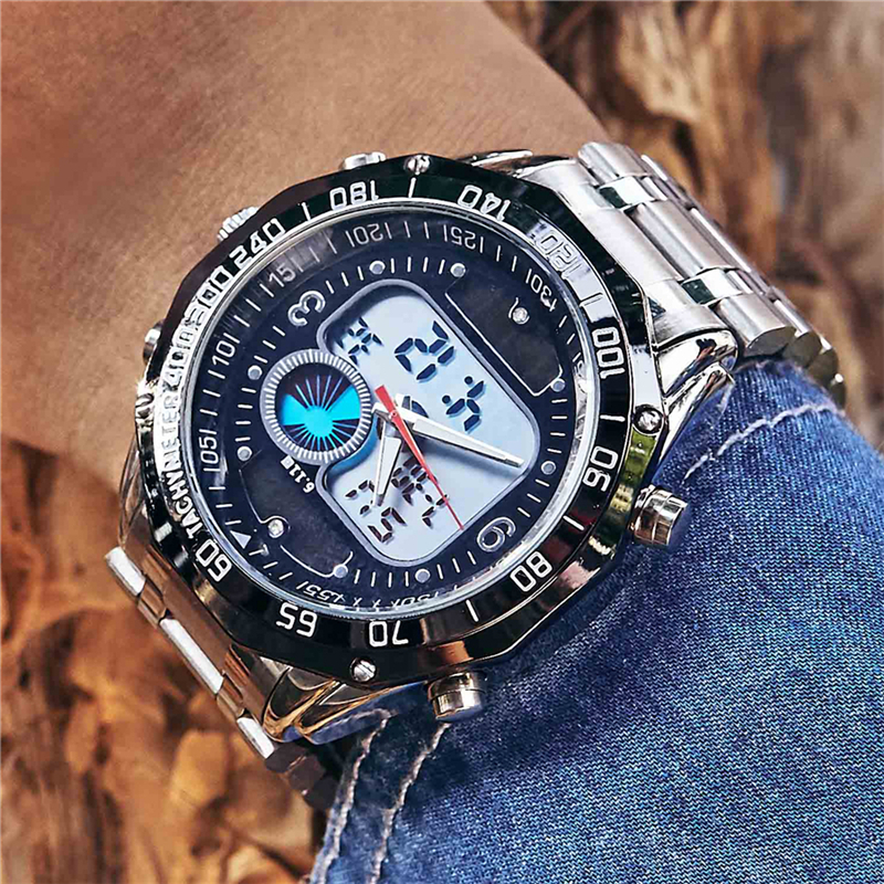 New solar watch men alloy quartz dual time mens watches waterproof wristwatch led digital for Solar watches