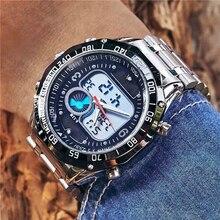 6 11 New Solar Watch Men Alloy Quartz Dual Time Mens Watches Waterproof Wristwatch Led Digital