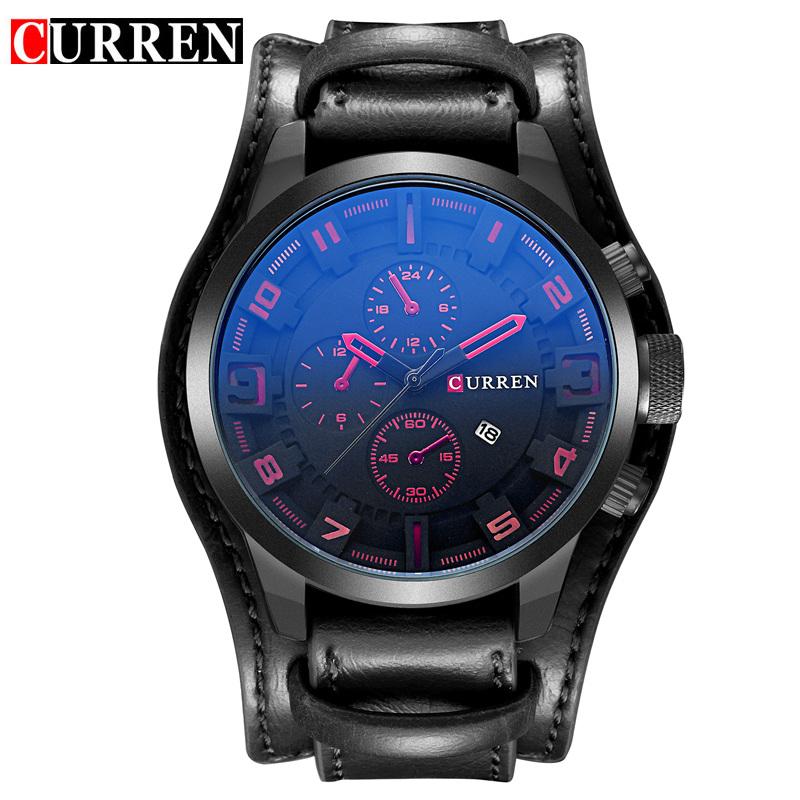 Prix pour CURREN D'affaires Top marque montre À Quartz hommes De Luxe Montres Militaires bracelet En Cuir Masculino 8225