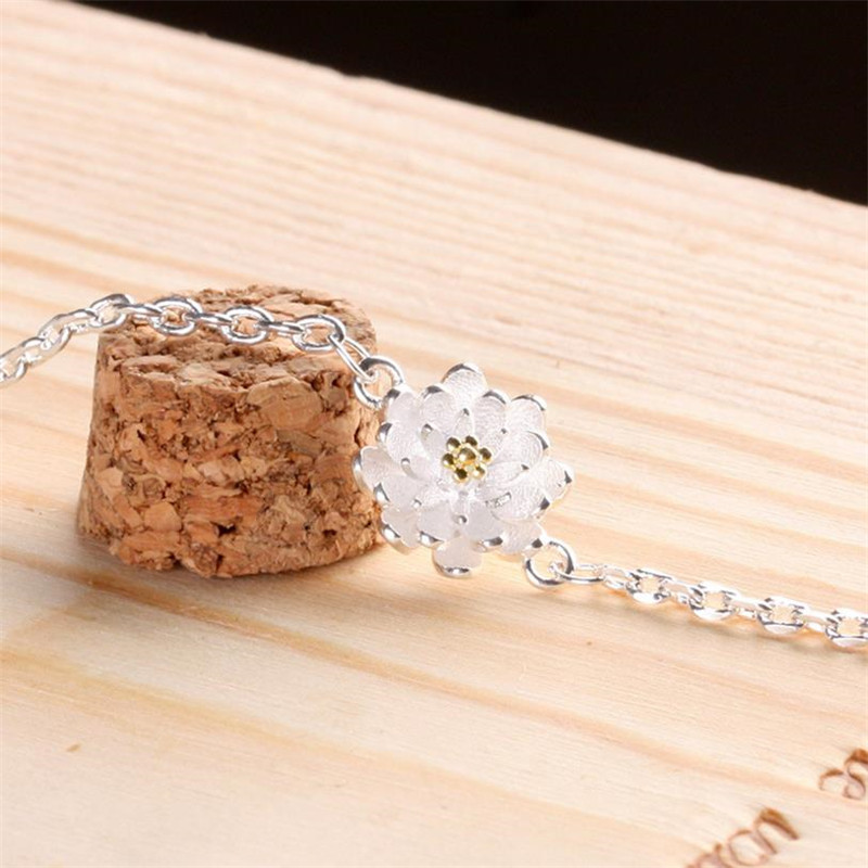 TJP Cute Flower Shaped Female Silver Bracelets Accessories Top Quality 925 For Women Wedding Party