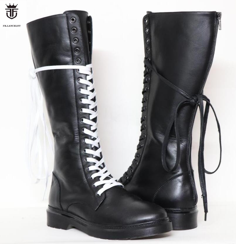 FR LANCELOT Luxury Brand Genuine Leather Long Boots Knee High men boots Sapatos Cross Tied Lace