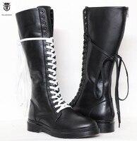FR. Ланселот Элитный бренд Ботфорты из натуральной кожи колено высокие мужские ботинки Sapatos с перекрестной шнуровкой обувь Sapatos большой Разм